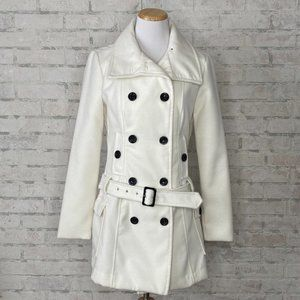 Byer California   White Pea Coat with Belt